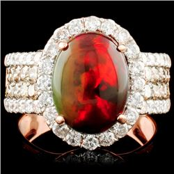 14K Gold 2.27ct Opal & 0.61ctw Diamond Ring