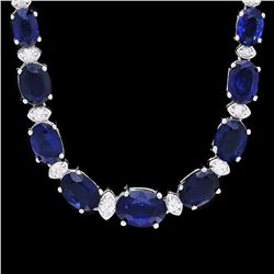 `14k Gold 30ct Sapphire 1.20ct Diamond Necklace