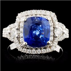 18K White Gold 2.13ct Sapphire & 0.79ct Diamond Ri