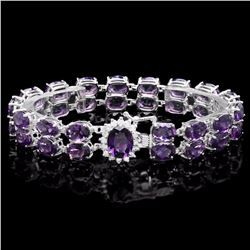 `14k Gold 43ct Amethyst 0.60ct Diamond Bracelet