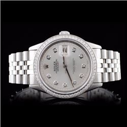Rolex SS DateJust Men's 1.35ct Diamond Wristwatch