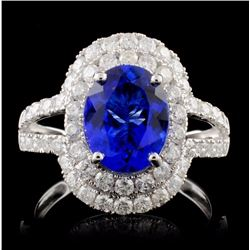 18K White Gold 2.20ct Tanzanite & 1.05ctw Diamond