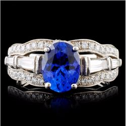 14K White Gold 2.00ct Tanzanite & 1.35ct Diamond R