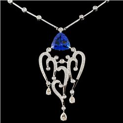 14K Gold 4.51ct Tanzanite & 1.58ctw Diamond Neckla