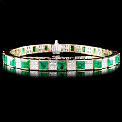 18K Gold 6.21ct Emerald & 3.84ctw Diamond Bracelet