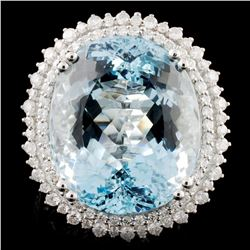 18K Gold 25.02ct Aquamarine & 1.24ctw Diamond Ring
