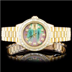 Rolex 18K YG DateJust 4.00ct Diamond Lagies Watch