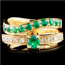18K Gold 0.73ctw Emerald & 0.20ctw Diamond Ring