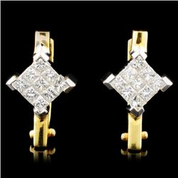 18K Gold 1.00ctw Diamond Earrings