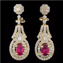 18K Gold 1.91ctw Ruby & 2.52ctw Diamond Earrings