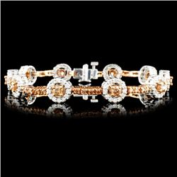 14K Gold 3.67ctw Fancy Color Diamond Bracelet