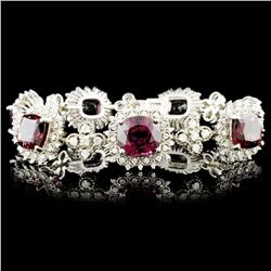 14K Gold 35.83ct Garnet & 2.72ctw Diamond Bracelet