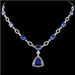 18K Gold 15.47ct Tanzanite & 2.37ctw Diamond Neckl