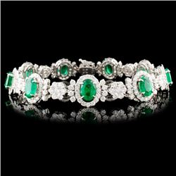 18K Gold 15.04ct Emerald & 7.29ctw Diamond Bracele