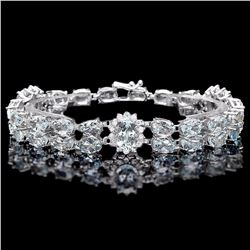 `14k W/G 26ct Aquamarine 1.50ct Diamond Bracelet