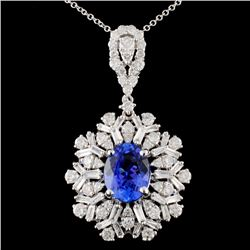 18K Gold 2.31ct Tanzanite & 1.87ctw Diamond Pendan