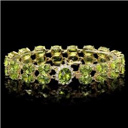 `14k Gold 45ct Peridot 0.50ct Diamond Bracelet