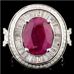 18K Gold 4.35ct Ruby & 1.81ctw Diamond Ring