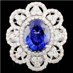 18K Gold 7.19ct Tanzanite & 2.25ctw Diamond Ring