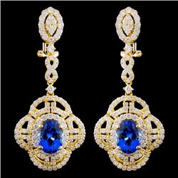 18K Gold 4.47ctw Tanzanite & 3.02ctw Diamond Earri