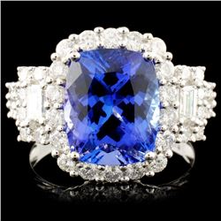 18K Gold 4.32ct Tanzanite & 1.36ctw Diamond Ring
