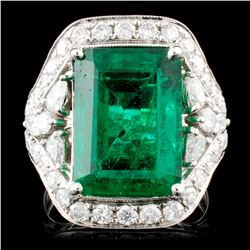 18K Gold 8.19ct Emerald & 1.68ctw Diamond Ring