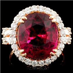 18K Rose Gold 9.73ct Tourmaline & 1.39ctw Diamond