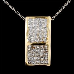 14K Gold 1.96ctw Diamond Pendant