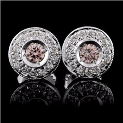 18K White Gold 0.53ctw Fancy Color Diamond Earring