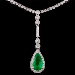 18K White Gold 1.81ct Emerald & 4.15ct Diamond Nec