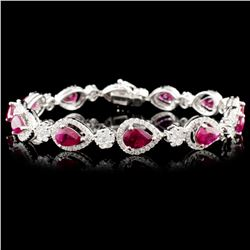 18K Gold 6.25ctw Ruby & 2.60ctw Diamond Bracelet
