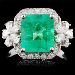 18K White Gold 2.60ct Emerald & 0.77ct Diamond Rin