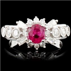 18K Gold 0.73ct Ruby & 0.71ctw Diamond Ring