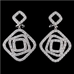 18K White Gold 3.65ct Diamond Earrings