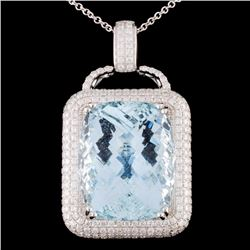 18K White Gold 36.17ct Aquamarine & 3.05ct Diamond
