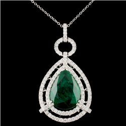 18K Gold 10.81ct Emerald 2.18ctw Diamond Pendant