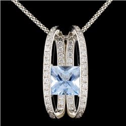 14K White Gold 3.50ct Aquamarine & 1.00ct Diamond