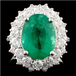 14K Gold 4.48ct Emerald & 1.71ctw Diamond Ring