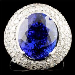 18K Gold 9.73ct Tanzanite & 3.14ctw Diamond Ring
