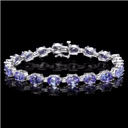 `14k Gold 19.5ct Tanzanite 0.80ct Diamond Bracelet