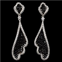 14K White Gold 4.33ctw Fancy Color Diamond Earring