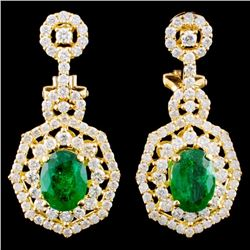 18K Gold 1.98ct Emerald & 1.85ctw Diamond Earrings