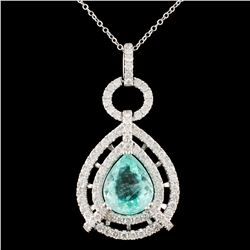 18K Gold 5.00ct Paraiba Tourmaline & 1.86ctw Diamo