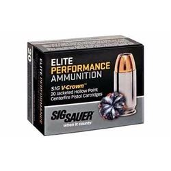 10 BOXES SIG SAUER E45AP1-20 Elite Performance V-Crown 45 ACP JHP 200 GR (200 ROUNDS) .798681458189