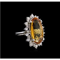 12.39ct Imperial Topaz and Diamond Ring - 14KT White Gold