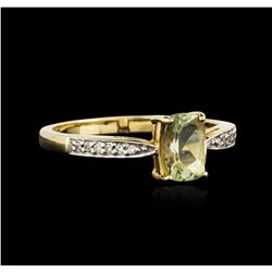 14KT Yellow Gold 0.79ct Green Tourmaline and Diamond Ring