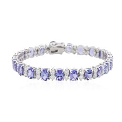 14KT White Gold 19.14ctw Tanzanite and Diamond Bracelet