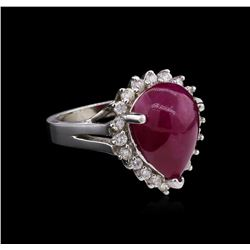7.51ct Ruby and Diamond Ring - 14KT White Gold