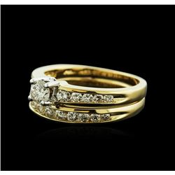 14KT Yellow Gold 0.70ctw Diamond Wedding Ring Set