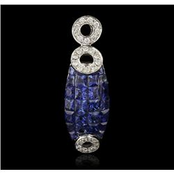 14KT White Gold 1.76ctw Sapphire and Diamond Pendant